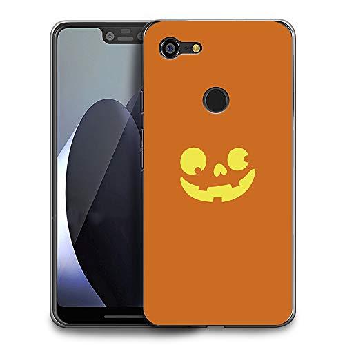 HelloGiftify Google Pixel 3 XL Case, Halloween Pumpkin Face TPU Soft Gel Protective Case for Google Pixel 3 XL