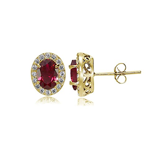 Yellow Gold Flashed Sterling Silver Created Ruby and Cubic Zirconia Accents Oval Halo Stud Earrings ()