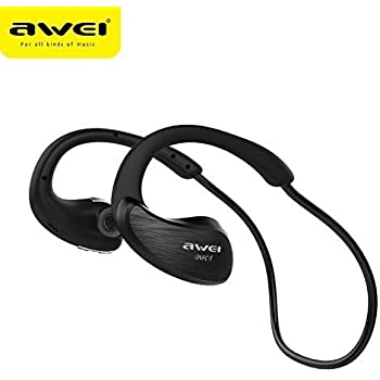 New AWEI A885BL Bluetooth Earphones Earbuds Headphones Headsets Wireless NFC WaterProof HD Stereo Hands-free Professional Iphone Samsung Sony For Jogging For GYM Work Out Heavy Duty Battery (BLACK)