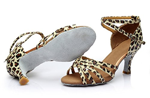 ShangYi Female adult Latin dance shoes with female Latin shoes soft bottom Dancing shoes, dancing shoes, with height 5cm Leopard