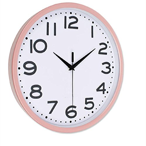 L&M Metal Three-dimensional Characters Gray Word Bedroom Pocket Watch Sweep Seconds Mute Bedroom Quartz Clock , pink