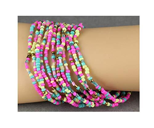 12 Pink Turquoise Yellow Bracelets Seed Bead Stretch Set Beaded Stack Stacking Bracelet Set