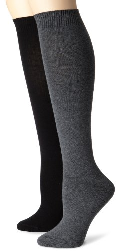 Flat Knit Knee Sock - Hue Women's 2 Pair Pack Flat Knit Knee Sock, Graphite/Black, 1
