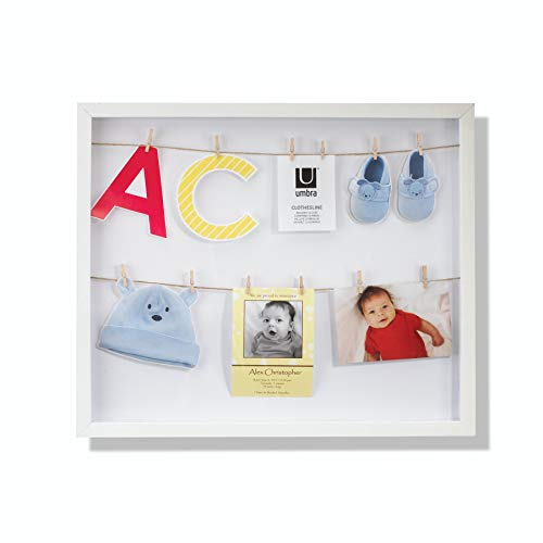 Umbra Clothesline Shadowbox Picture Frame, White