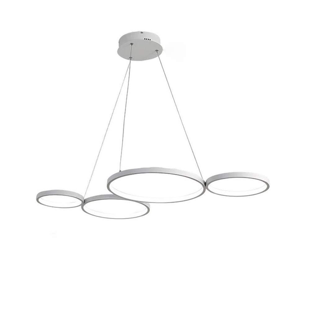 Dimmbare Fernbedienung Pendelleuchte Modern LED Hängeleuchte Geometrie Ring Design Acryl Pendellampe Minimalistische Decke Hängelampe für Esszimmer Schlafzimmer Wohnzimmer 4 Ringe, Weiß