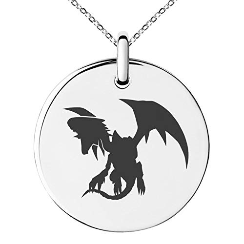 - Tioneer Yu-Gi-Oh! Blue-Eyes White Dragon Silhouette Stainless Steel Small Medallion Circle Charm Pendant Necklace