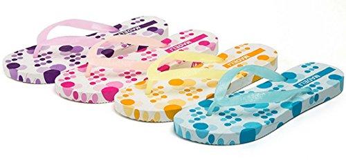 Bettyhome Vrouwen Zomer Multicolor 3d Print Platte Comfortabele Teenslippers Casual Platte Sandalen Strandteenslippers Platte Slippers Geel