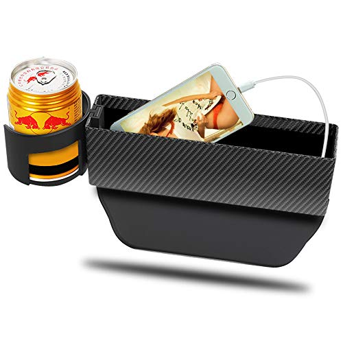 Car Cup Holder Organizer Seat Gap Filler with Leather Cover   Universal Console Side Pocket Seat Catcher Storage Box Cage for Cell Phone Drinks Key Wallet Phone Coins Sunglasses (Stripe)