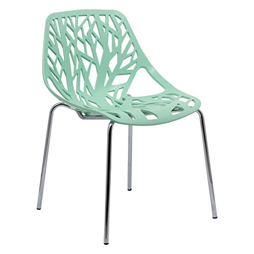 LeisureMod Forest Modern Side Dining Chair with Chromed Legs (Mint)