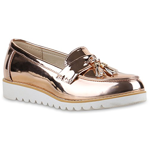 Damen Slipper Lack Plateau Loafers Metallic Schuhe Profilsohle Loafer Flats  Glitzer Slippers Quasten Lochung Flandell Gold b167c964e0