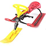 Children's Snowmobile with Brake ice Truck Adult Snowmobile Skier ice Sledge with Steering Wheel and Double Brake Snowmobile for Children Aged 4 and Over - accommodate Two Children or a Teenager