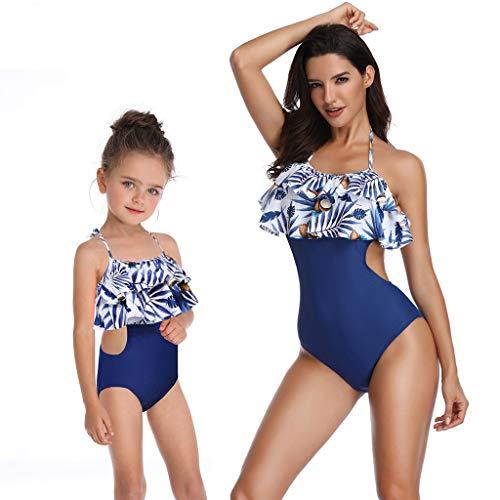 Willow S Ladies Mom&Me Swimsuit Split Floral Printed Ruffle Bikini Set Family Straps Dot Splicing Beach Bodysuit