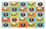Lunarable Football Doormat, Colorful Squares Mosaic Pattern of Protective Equipment and Balls College Activity, Decorative Polyester Floor Mat with Non-Skid Backing, 30 W X 18 L Inches, Multicolor