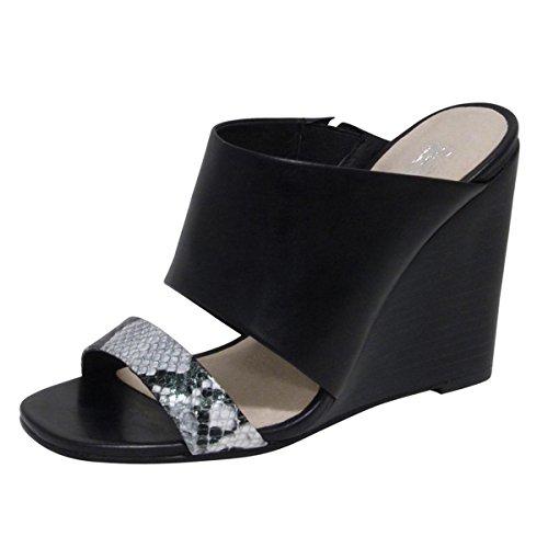 ANDREW STEVENS Women's Geneva Leather Wedge Sandal (6, Black)