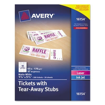 Printable Tickets w/Tear-Away Stubs, 1-3/4 x 5-1/2, Matte White, 200 Tickets/Pk, Sold as 200 Each