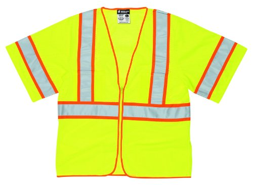 Away Vest Safety Tear (MCR Safety CL2MLM Class 2 Polyester Mesh Tear-Away Safety Vest with 3M Scotchlite 2-Inch Silver Stripe, Fluorescent Lime, Medium)