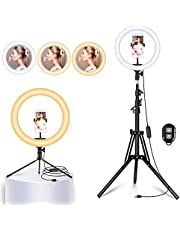 """Yesker 10"""" Ring Light with 51 Inch Floor and Desktop Tripod Stand LED Ringlight 3 Light Modes 10 Brightness Level Selife Remote for Stream Makeup Photography Zoom Conferencing"""