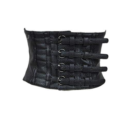 AOMAOY Black Womens PU Leather Belt High Waist Cincher Belt Corsets for Waist Training Wide Belt (Medium)