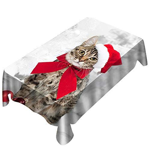 """certainPL Fabric Christmas Tablecloth Dressed Kitten Printed Party Dinner Tablecloth - Rectangle (59"""" x 83"""")"""