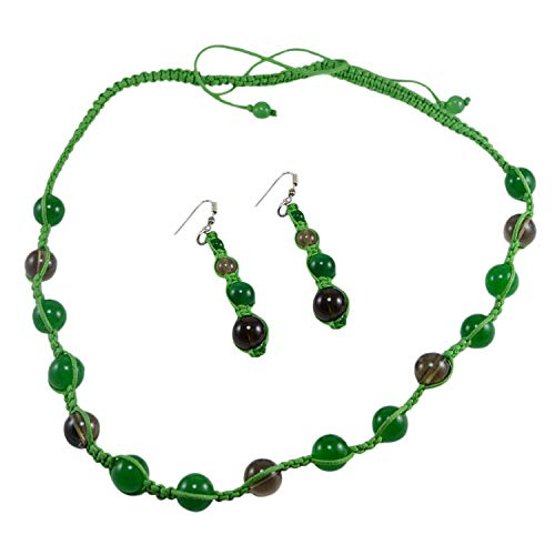 Saamarth Impex Green Jade & Smoky Quartz Gemstone Necklace & 925 Silver Plated Earring Set PG-125398