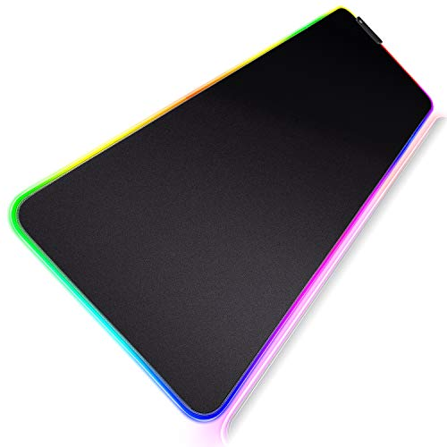 Gimars Upgrade Mutispandex Fiber Smooth Fast Movement RGB Gaming Mouse Pad Extra Large, Oversized Extended Glowing LED Computer Keyboard Pad Mat Mousepad with Non-Slip Rubber Base, 31.512 Inch
