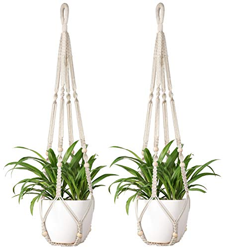 Mkono Macrame Plant Hangers 2Pcs Indoor Hanging Planter Basket Flowe Pot Holder Cotton Rope with Beads No Tassels, 35 Inch