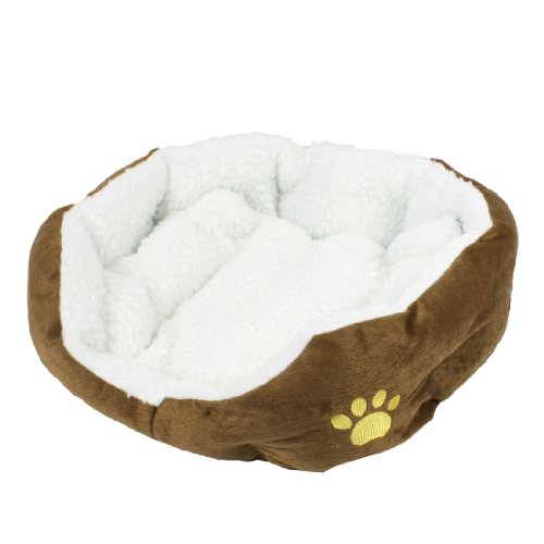 Indoor Soft Fleece Pet Puppy Dog Cat Bed House Kennel Mat Coffee Color 45x40cm