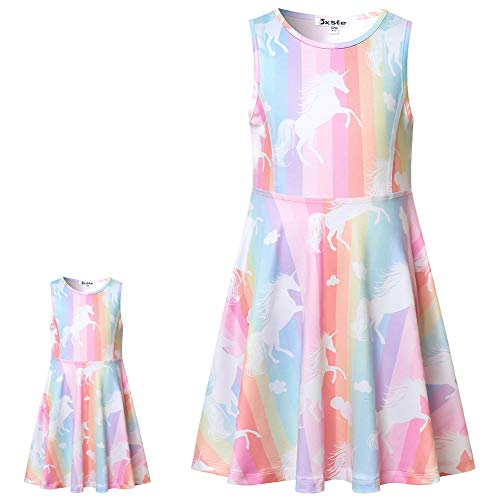 Sleeveless Unicorn Dresses for Toddler Girls Casual Summer Sun Dresses 7 16