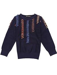 MFrannie Boys Asymmetric Colorful Stripe Crew-Neck Long Sleeve Sweater