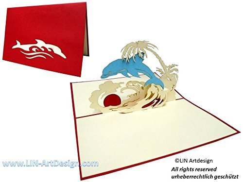 LIN Pop Up 3D Greeting Card as a Gift card for a Holiday at the Beach, Dolphin in Carribean Scenery, - Online Send Gift Vouchers