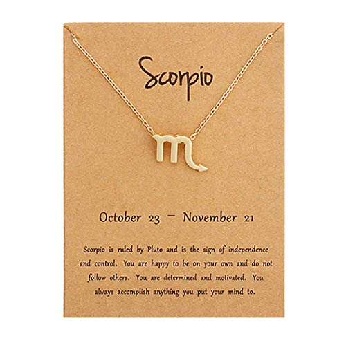 - HOLY KT 12 Constellation Zodiac Pendant Necklace Astrology Gold Tone Chain with Gold Message Card for Women Jewelry