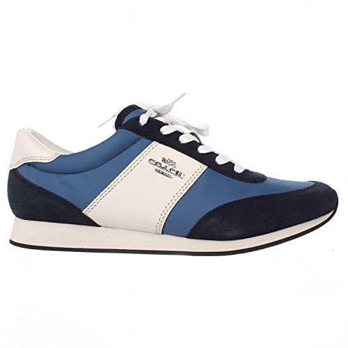 Coach Womens Raylen Leather Low Top Lace Up Fashion Sneakers, Blue, Size 5.0 by Coach (Image #4)