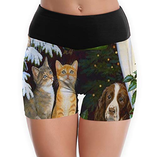 Compression Shorts Pets Christmas High Waist Yoga Shorts Lightweight Running Shorts