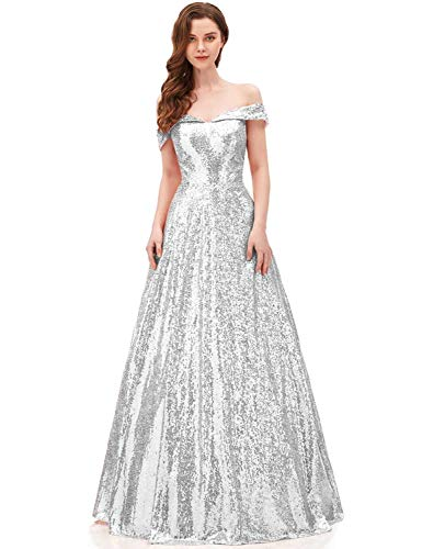 (2018 Off Shoulder Sequined Prom Party Dresses for Women A Line Empire Waist Robes Formal Evening Skirts Long Elegant Gowns SHPD41 Silver Size)