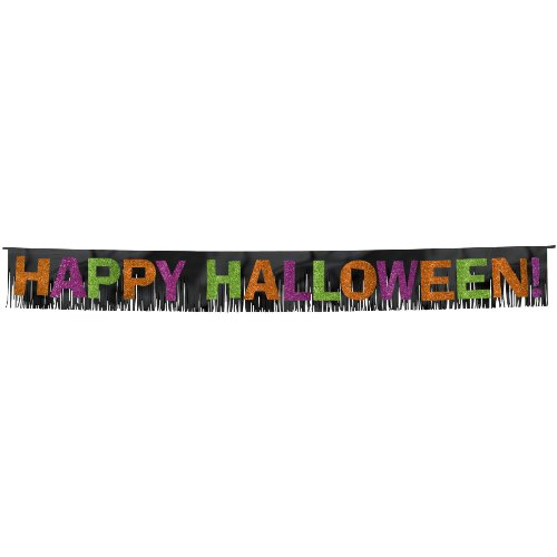 Halloween Foil Fringe Banner With Glitter Paper Letters- 12 1/2 inches X 10 feet