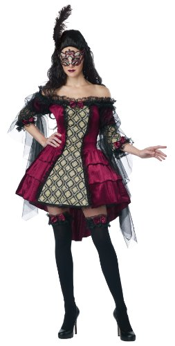 California Costumes Women's Eye Candy - Mysterious Masquerade Adult, Burgundy/Black, X-Large (Masquerade Masks On A Stick Party City)