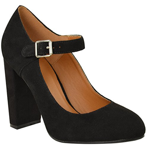 Fashion Thirsty Womens Block High Heels Court Shoes Mary Jane Strappy Formal Office Size 5 (Dolly Strap Pumps Ankle)