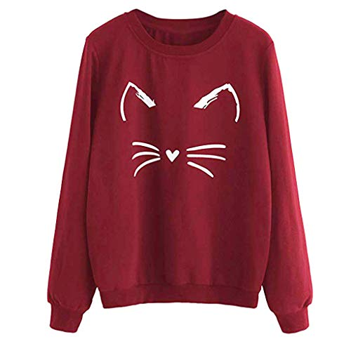 Hoodies Sweater Tops - ✔ Hypothesis_X ☎ Women Autumn and Winter Cat Weater Round Neck Long Sleeve Sweatshirts Red