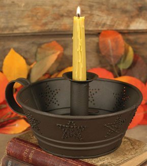 (Dish Taper Candle Holder with Punched Star Tin Dish)