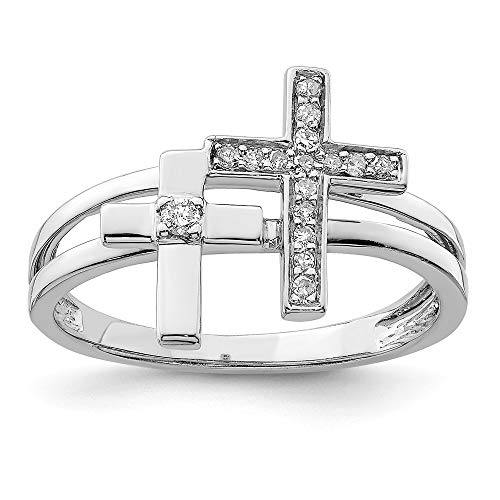 925 Sterling Silver Diamond Crosses Band Ring Size 7.00 Religious Fine Jewelry Gifts For Women For Her