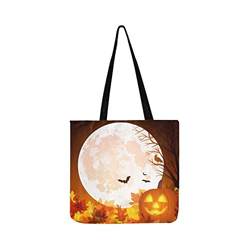 Istock Vector Halloween Pumpkin Moon Bats Canvas Tote Handbag Shoulder Bag Crossbody Bags Purses For Men And Women Shopping Tote]()