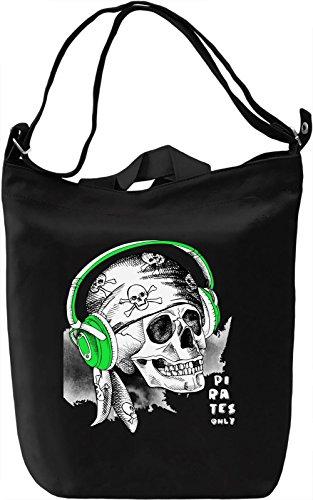 Skull with Headphones Borsa Giornaliera Canvas Canvas Day Bag| 100% Premium Cotton Canvas| DTG Printing|