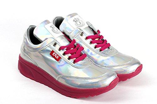 Damen Mode Komfort Schnürer Turnschuhe Flache Schuhe Sneakers Fitnessstudio Fitness Pumps - schwarz/glänzend, EU 36