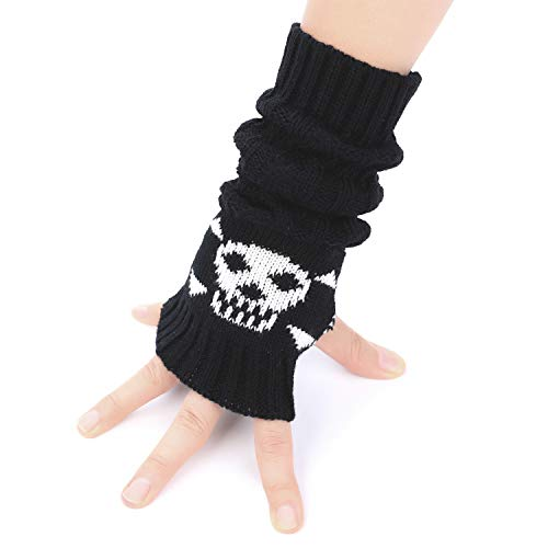 Flammi Cable Knit Fingerless Arm Warmers Skull Jacquard Thumb Hole Gloves Mittens (Knitted Fingerless Gloves)