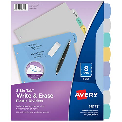 Avery 8-Tab Plastic Binder Dividers, Write & Erase Multicolor Big Tabs, 1 Set (16171)