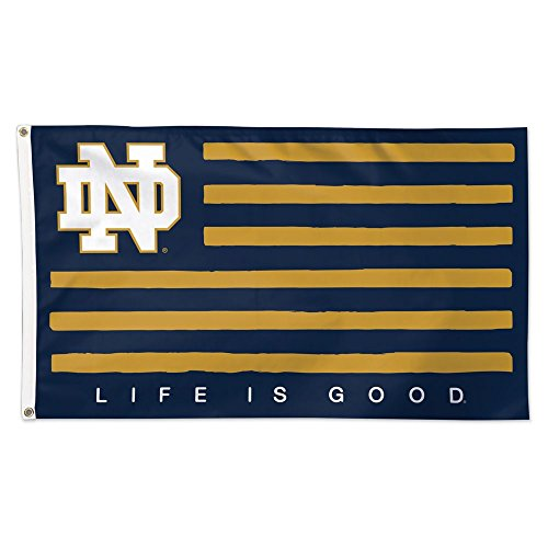 """Notre Dame """"Life Is Good"""" 3x5 American Flag ND Logo Banner"""