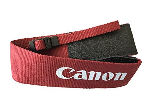 Canon Genuine Original OEM Pro Wide Neck Strap for Canon EOS Rebel T5, T6, SL1, T5i, T6i, T6s, 70D, 80D, 7D Mark II, 5D Mark III, 6D Digital SLR DSLR Cameras - Red - Wide Canon Strap