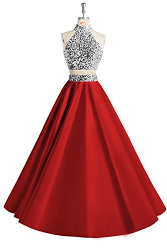 (MsJune Women Two Piece Prom Dress Beaded Long Party Gowns Evening Dresses Red 2)