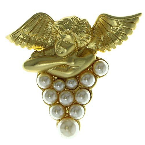 Mi Amore Metal Cherub Brooch-Pin with Bead Accents Gold-Tone & White ()