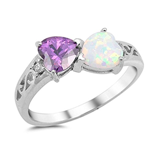 Blue Apple Co. Double Heart Ring Filigree 925 Sterling Silver Created White & Simulated Amethyst Round Cubic Zirconia, Size - 9